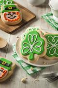 Green Clover St Patricks Day Cookies Stock Photos