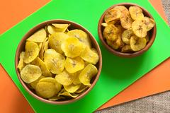 Salty and Sweet Plantain Chips Stock Photos