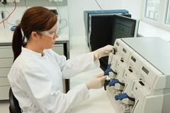 women in research work in research laboratories - stock photo