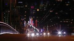 Granville Street traffic at night Stock Footage