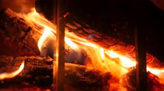 Hot fire in a home fireplace Stock Footage