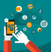 vector mobile app development concept illustration - stock illustration
