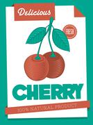 Stock Illustration of vector delicious cherry poster