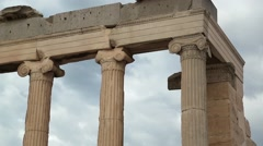 Columns of antique temple in Athenian Acropolis in Greece Stock Footage
