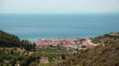 Top view of the Nea Skioni village, Kassandra peninsula, Halkidiki, Greece Stock Footage