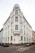 Beautifully renovated art nouveau building Stock Photos