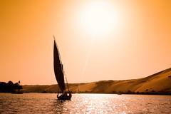 felucca in aswan, egypt - stock photo