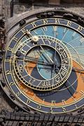 Prague astronomical clock on old town hall Stock Photos