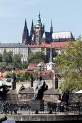 prague, charles bridge and prague castle hradcany - stock photo