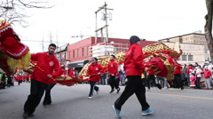 Lunar New Year dragon dance performance - stock footage