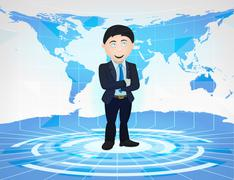 Business man standing in blue virtual studio with world map Piirros