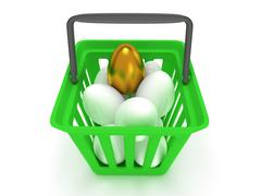 Golden egg among white eggs in shopping basket Stock Illustration