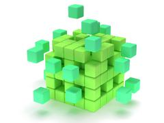 Stock Illustration of Cubes block. Assembling concept. On white.