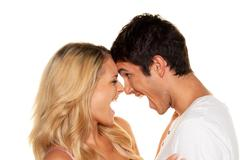 Couple has fun. love and sex Stock Photos