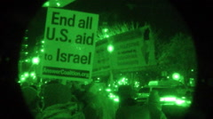 PVS 14 night vision - Candlelight vigil for Palestine Stock Footage