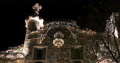 Barcelona city night light casa batllo top 4k spain Stock Footage