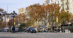 Barcelona city day light street traffic 4k spain Stock Footage