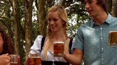 In high quality format group of friends celebrating oktoberfest - stock footage