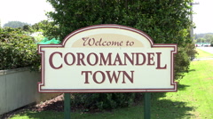 Welcome to Coromandel Town sign, Coromandel Peninsular, New Zealand Stock Footage