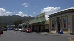 Street scene, traffic, Coromandel Town, Coromandel Peninsular, New Zealand Stock Footage
