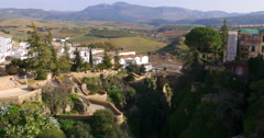 Sun light ronda panorama view on town from the bridge 4k spain Stock Footage