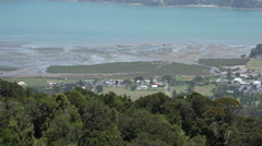 Scenic view of Coromandel Town and bay, Coromandel Peninsular, New Zealand Stock Footage