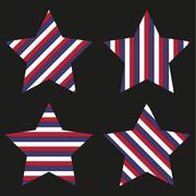 Collection of 4 striped stars isolated on black Stock Illustration