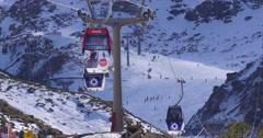 Early winter day light ski lift 4k sierra nevada spain Stock Footage