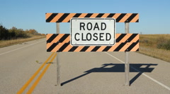 Road closed sign. - stock footage