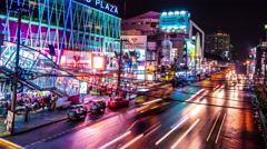 4K TimeLapse - The movement of vehicles along the night city road Stock Footage