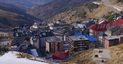 colorful mountain ski resort town hotels 4k spain sierra nevada - stock footage