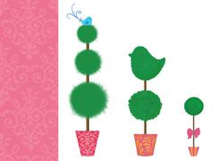 Stock Illustration of Three Topiaries in a Row