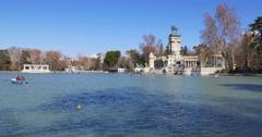 Madrid sunny day retiro park pond panorama 4k spain Stock Footage