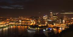 4K Pittsburgh Skyline Night to Dawn Timelapse Stock Footage