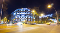 barcelona night light busy traffic crossroad 4k time lapse spain - stock footage