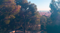 sun light park guell sagrada familia torre agbar view 4k time lapse spain - stock footage
