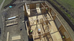 Aerial shot of construction job site - stock footage