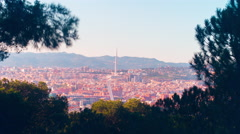 Anella olimpica barcelona sun light panorama 4k time lapse spain Stock Footage