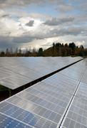 Clean Green Energy Farm Solar Power Panels Stock Photos