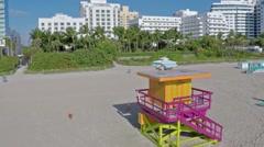 Aerial Lifeguard Shack Miami Beach 30th Street Shoreline Clip 7 Stock Footage