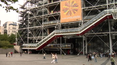 Centre Georges Pompidou, Beaubourg, Cultural Center Stock Footage
