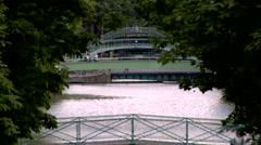 Canal Saint-Martin, Overpass pedestrian Stock Footage