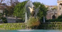nice weather parc de la ciutadella fountain close up 4k spain barcelona - stock footage