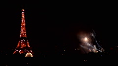 Eiffel Tower Fireworks on Bastille Day Stock Footage