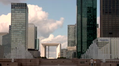 Grand Arch, La defense paris with fountain Stock Footage
