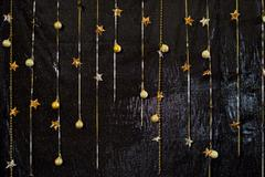 Decorative black background with sparkling materials. Wedding backdrop. Stock Photos
