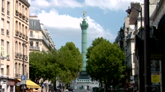 Place de la Bastille, July Column Stock Footage