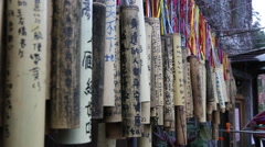 People wrote wish in bamboo for have good lucky and be happy from Taiwan -Dan Stock Footage