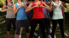 In high quality format fitness group squatting in park Stock Footage