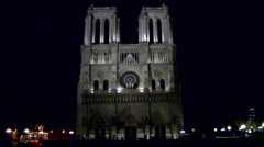 Notre Dame Cathedral, Night Stock Footage